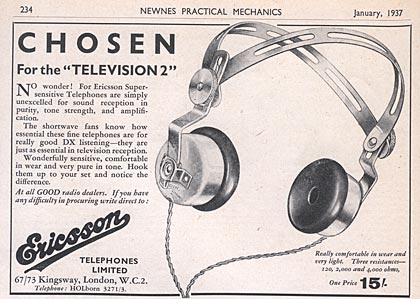 Old Headphone ad from 1937